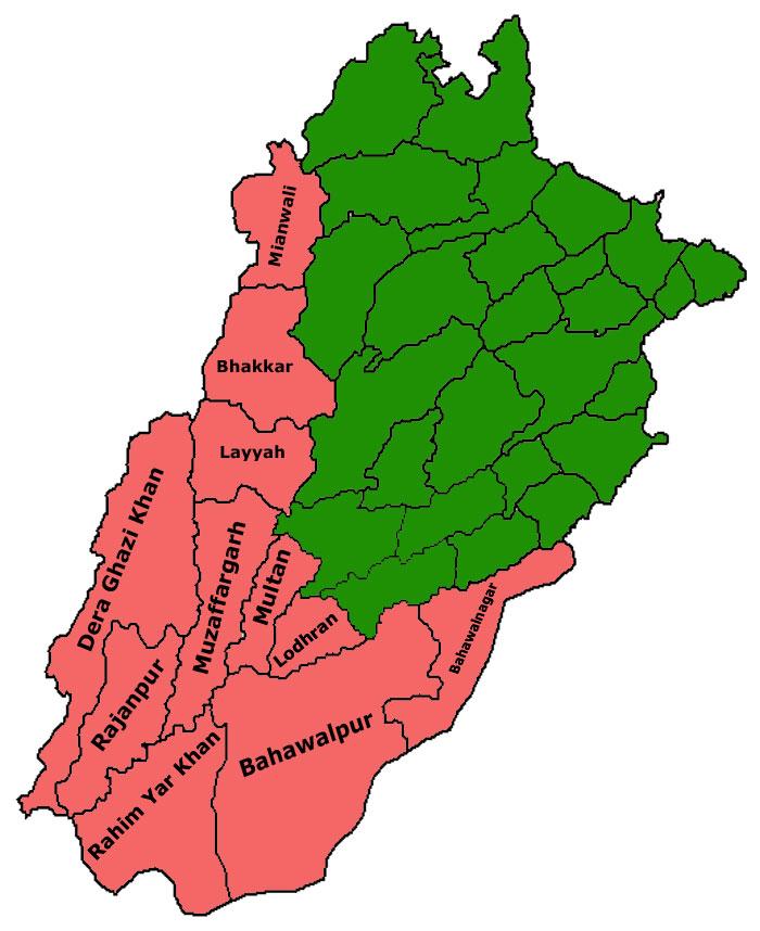 Saraiki Waseb Map
